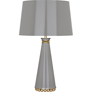 Pearl Smoky Taupe Lacquered Paint with Modern Brass Accents 29-Inch One-Light Table Lamp