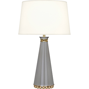 Pearl Smoky Taupe Lacquered Paint and Modern Brass Accents 29-Inch One-Light Table Lamp