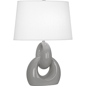 Fusion Smoky Taupe Glazed Ceramic with Polished Nickel Accents 27-Inch One-Light Table Lamp