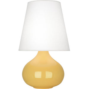 June Sunset Yellow Glazed Ceramic One-Light Accent Lamp With Oyster Linen Shade