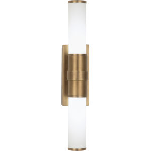 Roderick Warm Brass Two-Light LED Wall Sconce With White Frosted Glass Shades