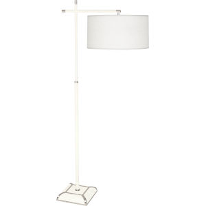 Ranger Glossy White Painted Two-Light Floor Lamp With Oyster Linen Fabric Shade