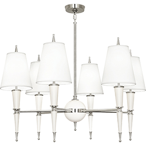Jonathan Adler Versailles Lily Lacquered Paint with Polished Nickel Accents 36-Inch Six-Light Chandelier