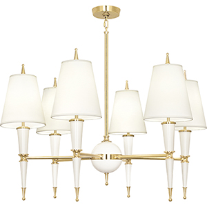 Jonathan Adler Versailles Lily Lacquered Paint with Modern Brass Accents 36-Inch Six-Light Chandelier