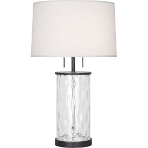 Gloria Bronze Two-Light Table Lamp With Oyster Linen Shade