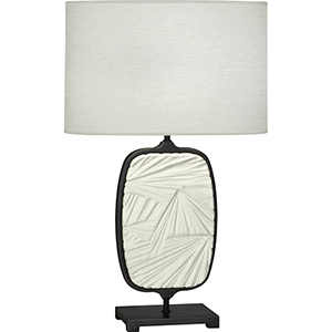 Michael Berman Flynn Deep Patina Bronze with Flat Lily Accent 28-Inch One-Light Table Lamp