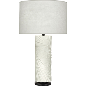 Michael Berman Lucien Flat Lily with Deep Patina Bronze Accents 30-Inch One-Light Table Lamp
