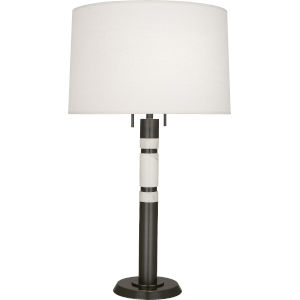 Hudson Bronze Two-Light Table Lamp With Oyster Linen