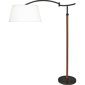 Kyoto Deep Patina Bronze and Woven Camel Leather 65-Inch One-Light Floor Lamp