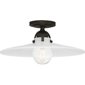 Rico Espinet Arial Deep Patina Bronze One-Light Flushmount With White Glass