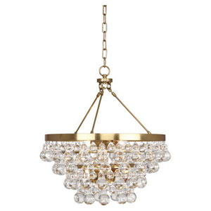 Bling Antique Brass Four-Light Chandelier