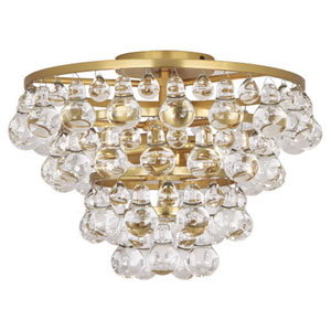 Bling Antique Brass Two-Light Semi Flush Mount