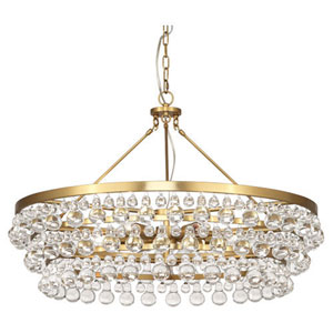Bling Antique Brass Six-Light Chandelier