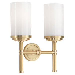 Halo Brushed Brass and Natural Brass Two-Light Vanity