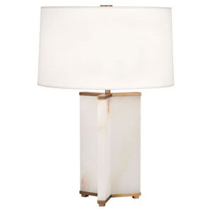 Fineas Alabaster and Aged Brass One-Light Table Lamp with White Shade