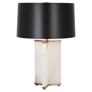 Fineas Alabaster and Aged Brass One-Light Table Lamp with Black Shade