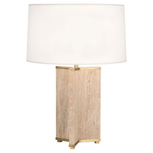 Fineas Travertine and Aged Brass One-Light Table Lamp with White Shade