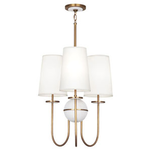 Fineas Alabaster And Aged Brass Three-Light Chandelier with White Shades