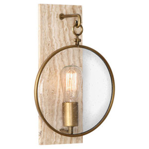 Fineas Travertine And Aged Brass One-Light Sconce