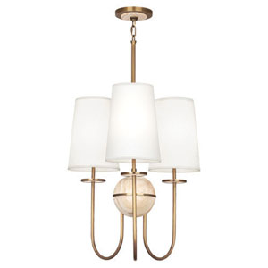 Fineas Travertine And Aged Brass Three-Light Chandelier with White Shades