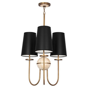 Fineas Travertine And Aged Brass Three-Light Chandelier with Black Shades