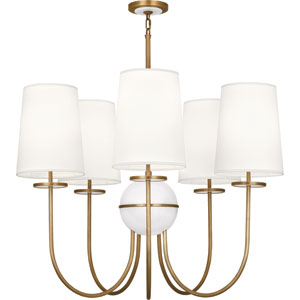 Fineas Aged Brass Five-Light Chandelier with White Shades and Alabaster Glass