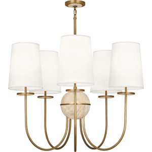 Fineas Aged Brass Five-Light Chandelier with White Shades and Travertine Glass
