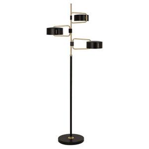 Simon Satin Black and Brass Three-Light Floor Lamp