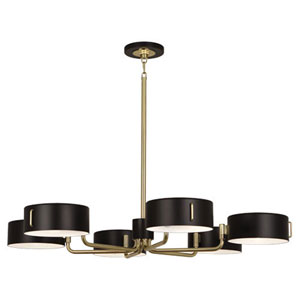 Simon Satin Black and Brass Six-Light Chandelier