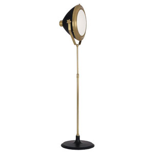 Apollo Antique Brass and Black Paint One-Light Floor Lamp