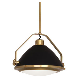 Apollo Antique Brass and Black Paint 22-Inch One-Light Pendant