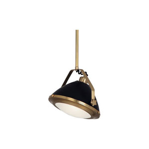 Apollo Antique Brass and Black Paint 13.5-Inch One-Light Pendant