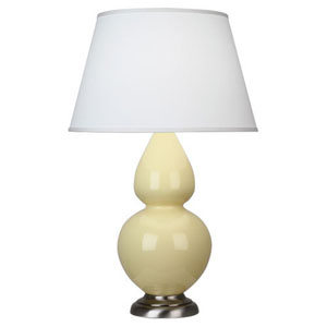 Double Gourd Butter and Antique Silver One-Light Table Lamp