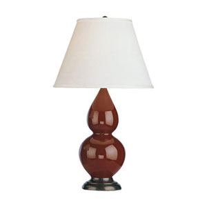 Small Double Gourd Oxblood and Bronze One-Light Table Lamp