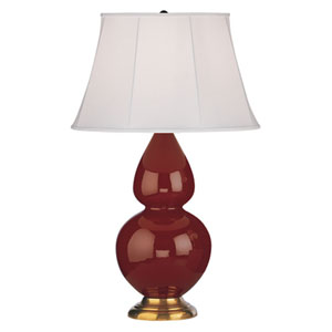Double Gourd Oxblood and Antique Brass One-Light Table Lamp