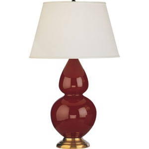Double Gourd Oxblood and Antique Brass One-Light Ceramic Table Lamp