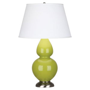 Double Gourd Apple and Antique Silver One-Light Table Lamp with Empire Shade