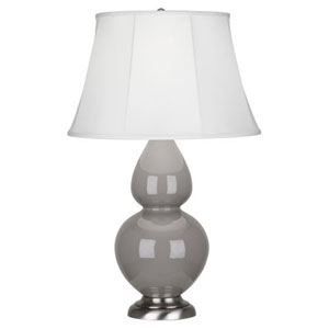 Double Gourd Smokey Taupe and Silver One-Light Table Lamp with Bell Shade