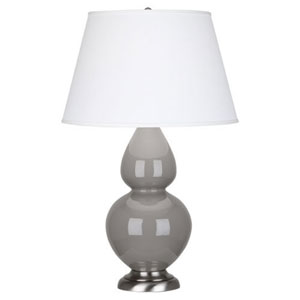 Double Gourd Smokey Taupe and Silver One-Light Table Lamp with Empire Shade