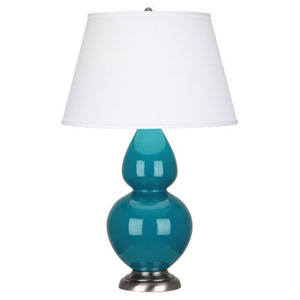 Double Gourd Peacock and Silver One-Light Table Lamp with Empire Shade