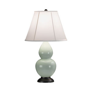 Small Double Gourd Celadon One-Light Table Lamp with Bell Shade