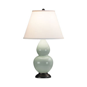Small Double Gourd Celadon One-Light Table Lamp with Empire Shade