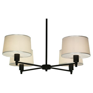 Real Simple Matte Black Powder Four-Light Chandelier