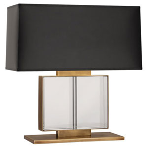 Sloan Aged Brass Two-Light Table Lamp with Black Shade