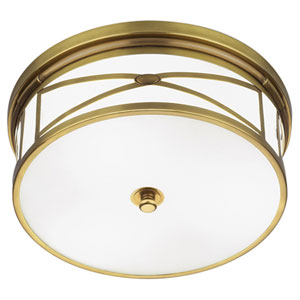 Chase Antique Brass Three-Light Flush Mount