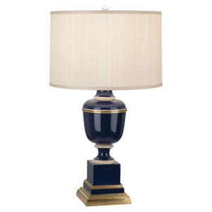 Mary McDonald Annika Blue and Ivory and Brass One-Light Table Lamp