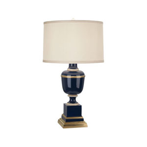 Mary McDonald Annika Blue, Ivory and Brass One-Light Table Lamp