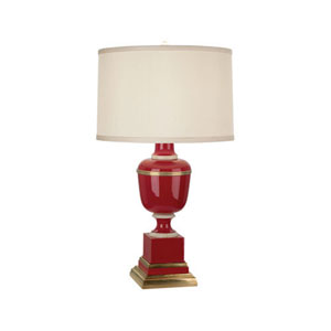Mary McDonald Annika Red, Ivory and Brass One-Light Table Lamp