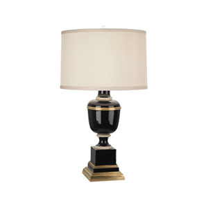 Mary McDonald Annika Black, Ivory and Brass One-Light Table Lamp