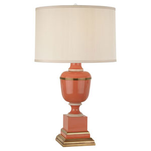 Mary McDonald Annika Tangerine and Ivory and Brass One-Light Table Lamp